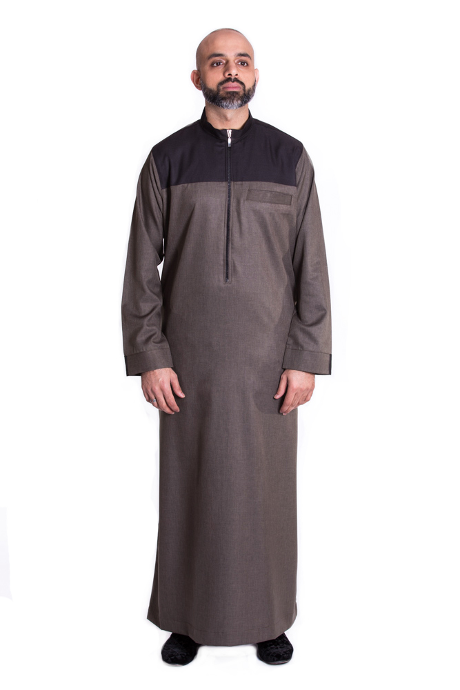 Khaki - Black zip Mens Islamic Jubba