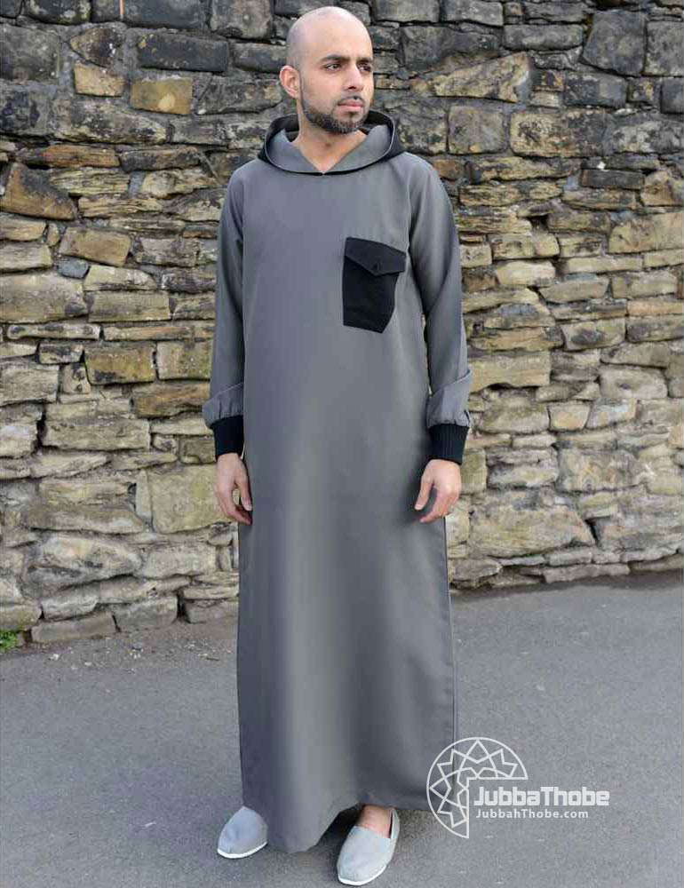 Khaki Black Hooded Jubba Thobe