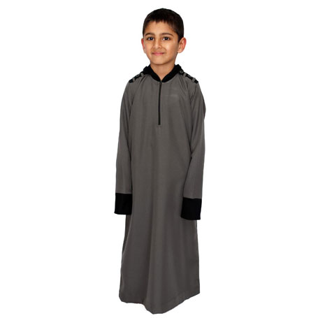 Khaki Full Zipped Stylish Children Jubba