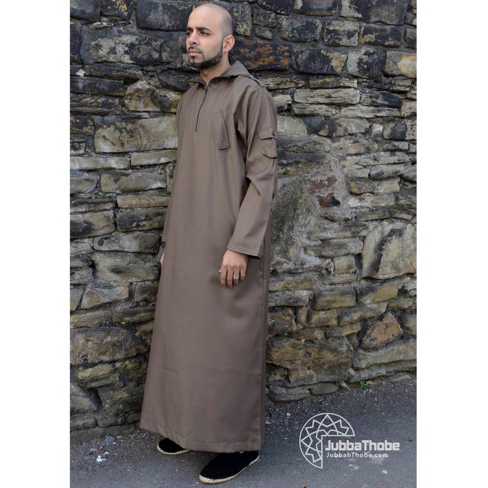Khaki Hooded Urban Jubba Thobe