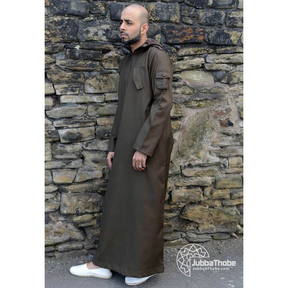 Light Brown Hooded Urban Jubba Thobe