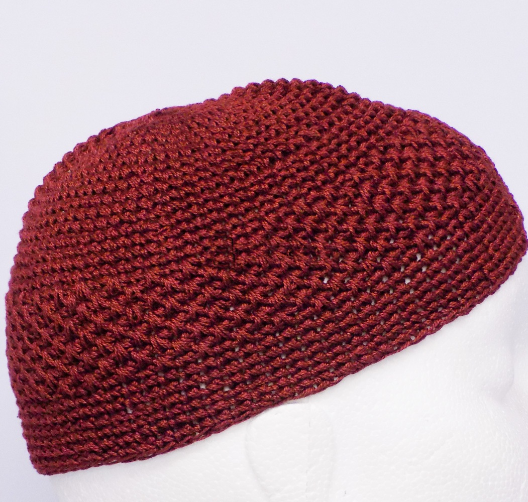 Maroon Knitted Prayer Hat