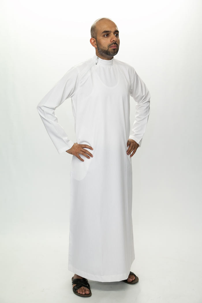 Side Zip White Islamic Jubba
