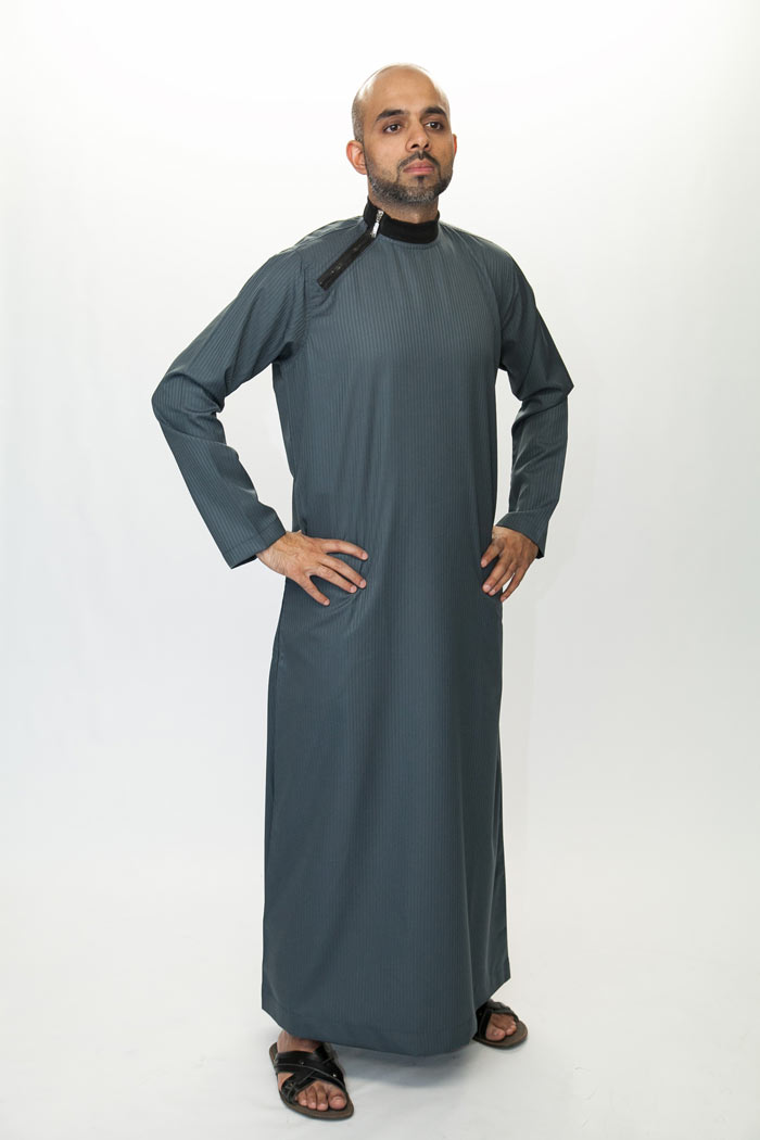 Side Zip Dark Grey Islamic Jubba