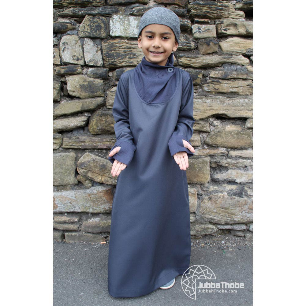 Navy Blue Cowell Neck Children Jubba