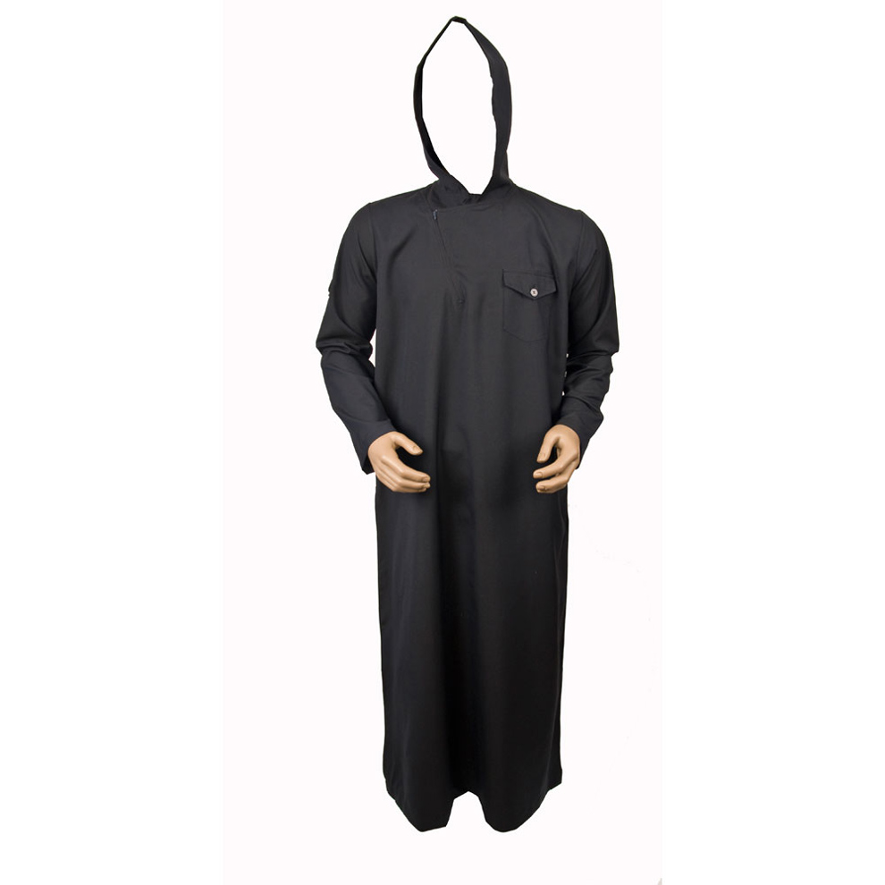 Navy Blue Jumper Sleeve Hooded Jubba Thobe