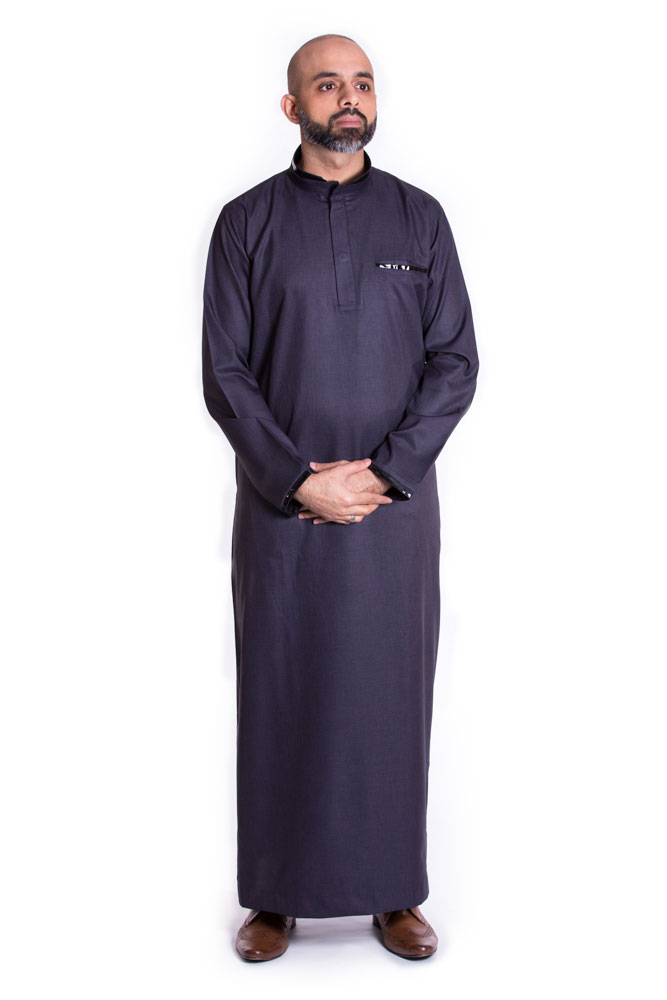 Navy Blue Buttoned Collar Pipping Jubba