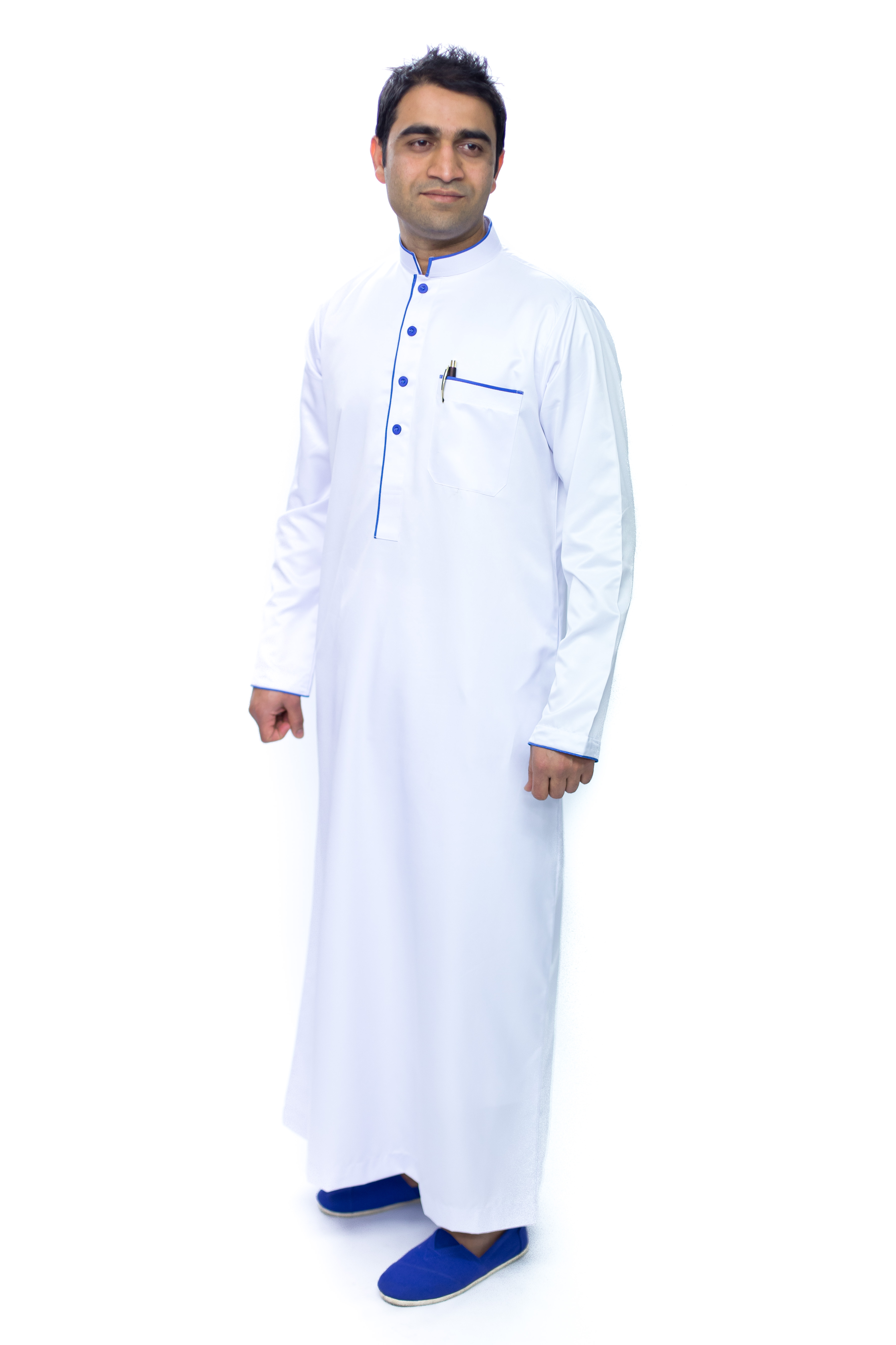 White New Pipping Mens Jubba