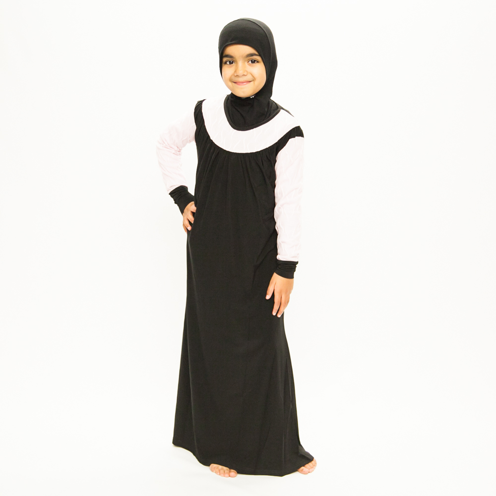 Girls Black Jilbab With Pink Lace