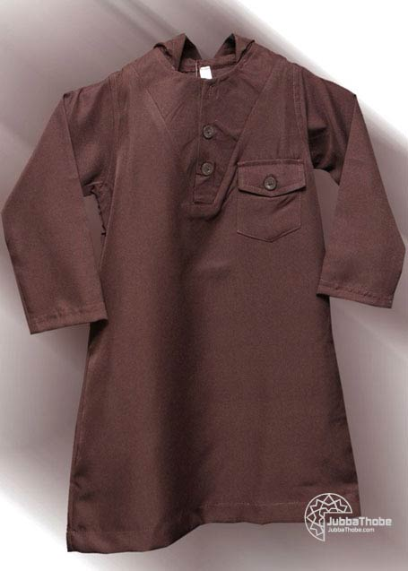 Plain Hooded Brown Toddler Children Jubba