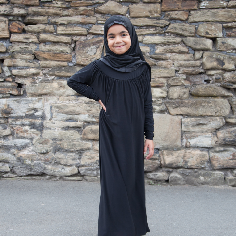 Girls Plain Abaya Black