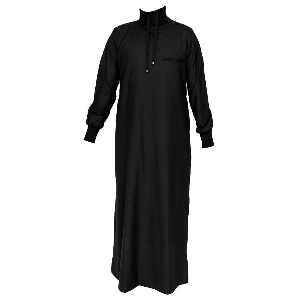 Polo Neck Black Jubbah Thobe
