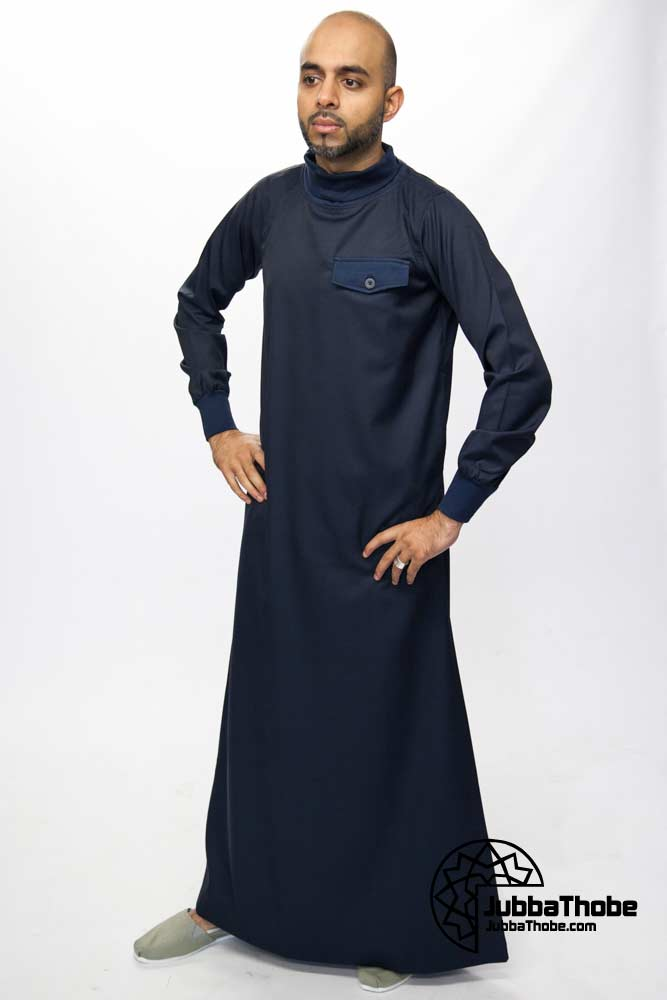 Polo Neck New Mens Navy Blue Jubba