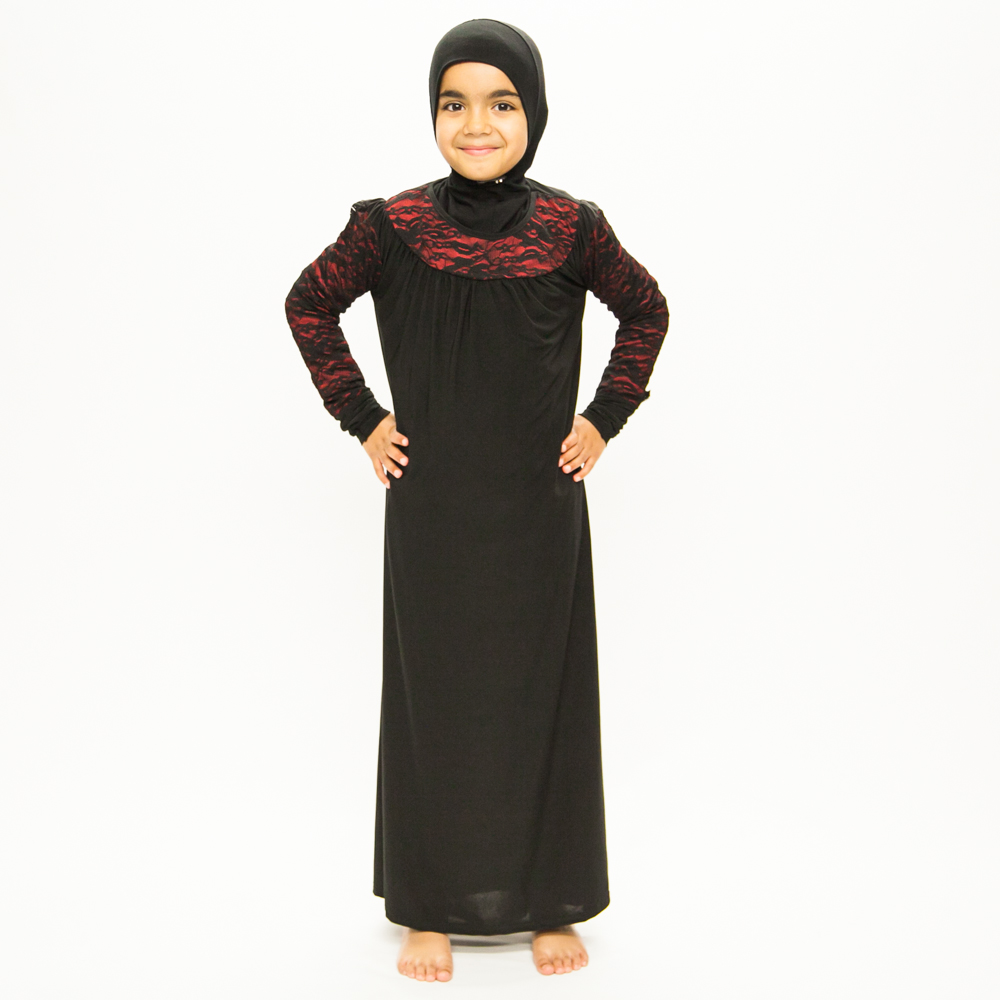 Girls Black Jilbab With Red Lace