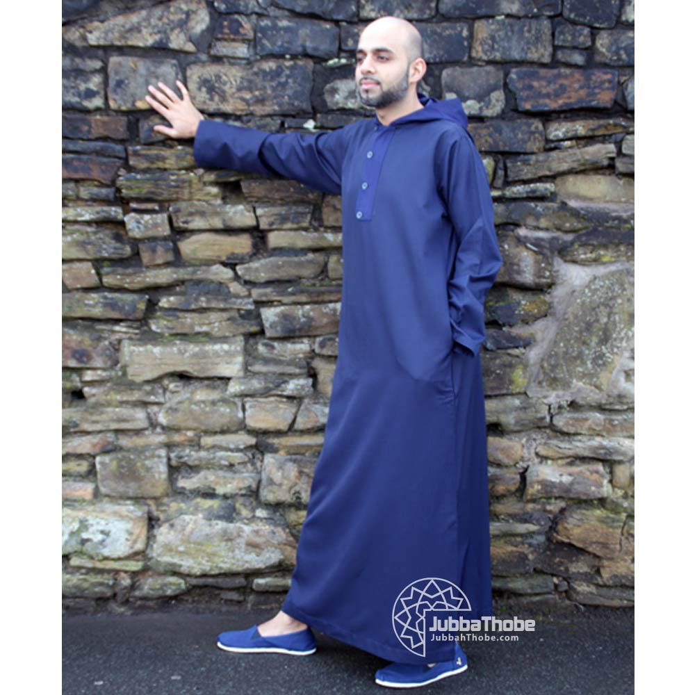 Royal Blue Hooded Jubba Thobe