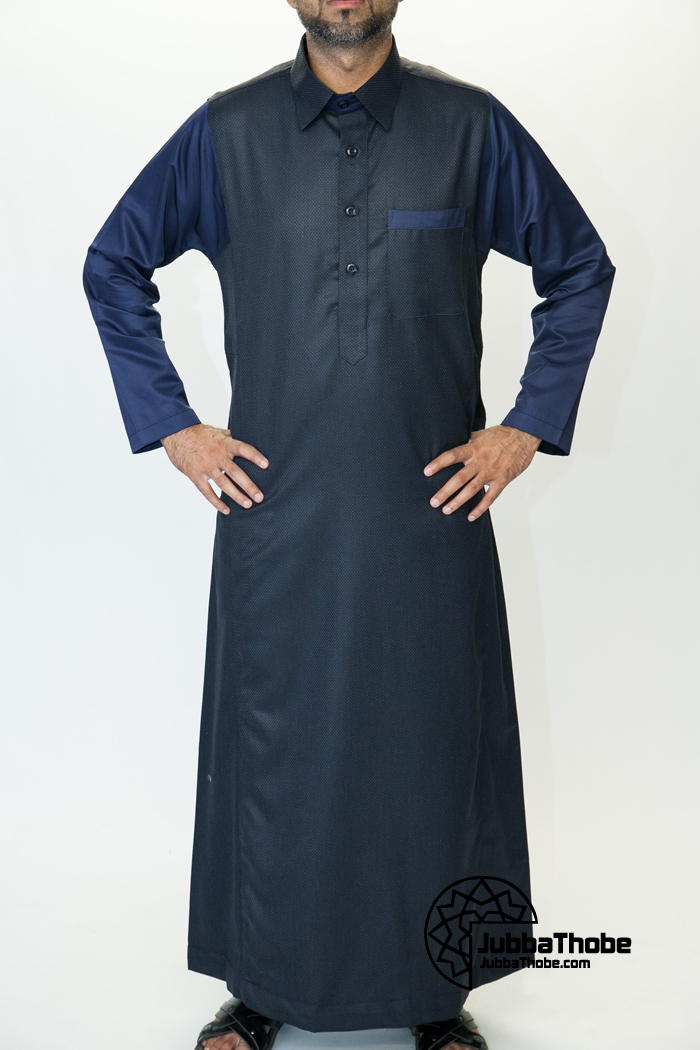 Shirt Collar Navy Blue Jubbah