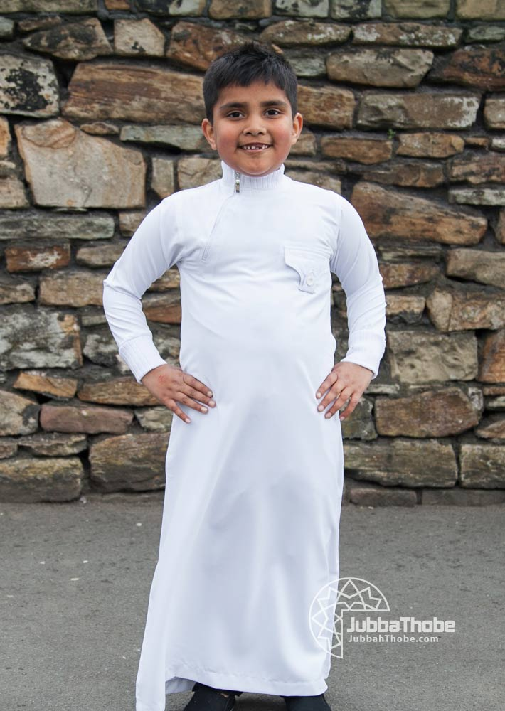 Side Zip White Jumper Children Jubba