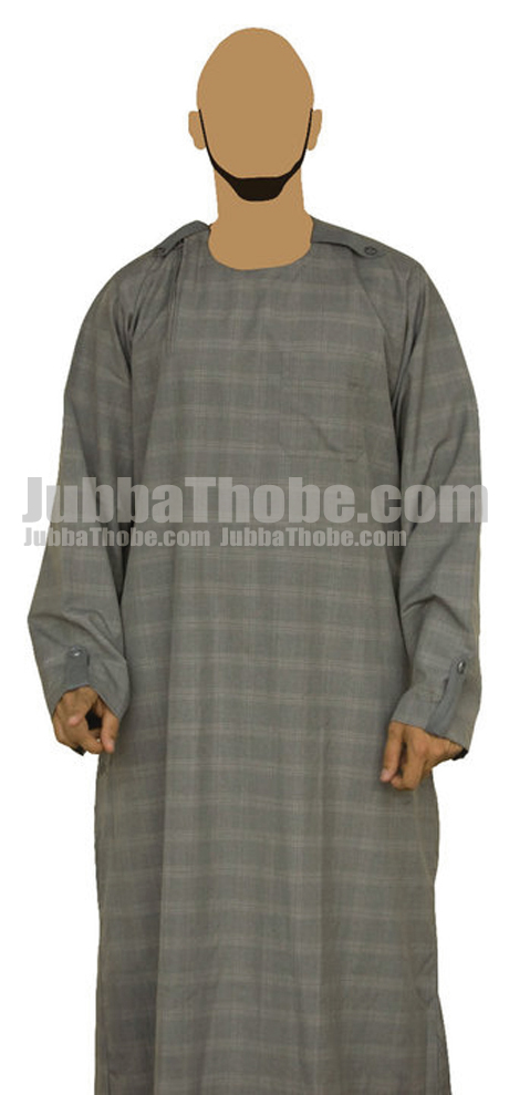 Suit Checkered Gray Color Jubba Thobe
