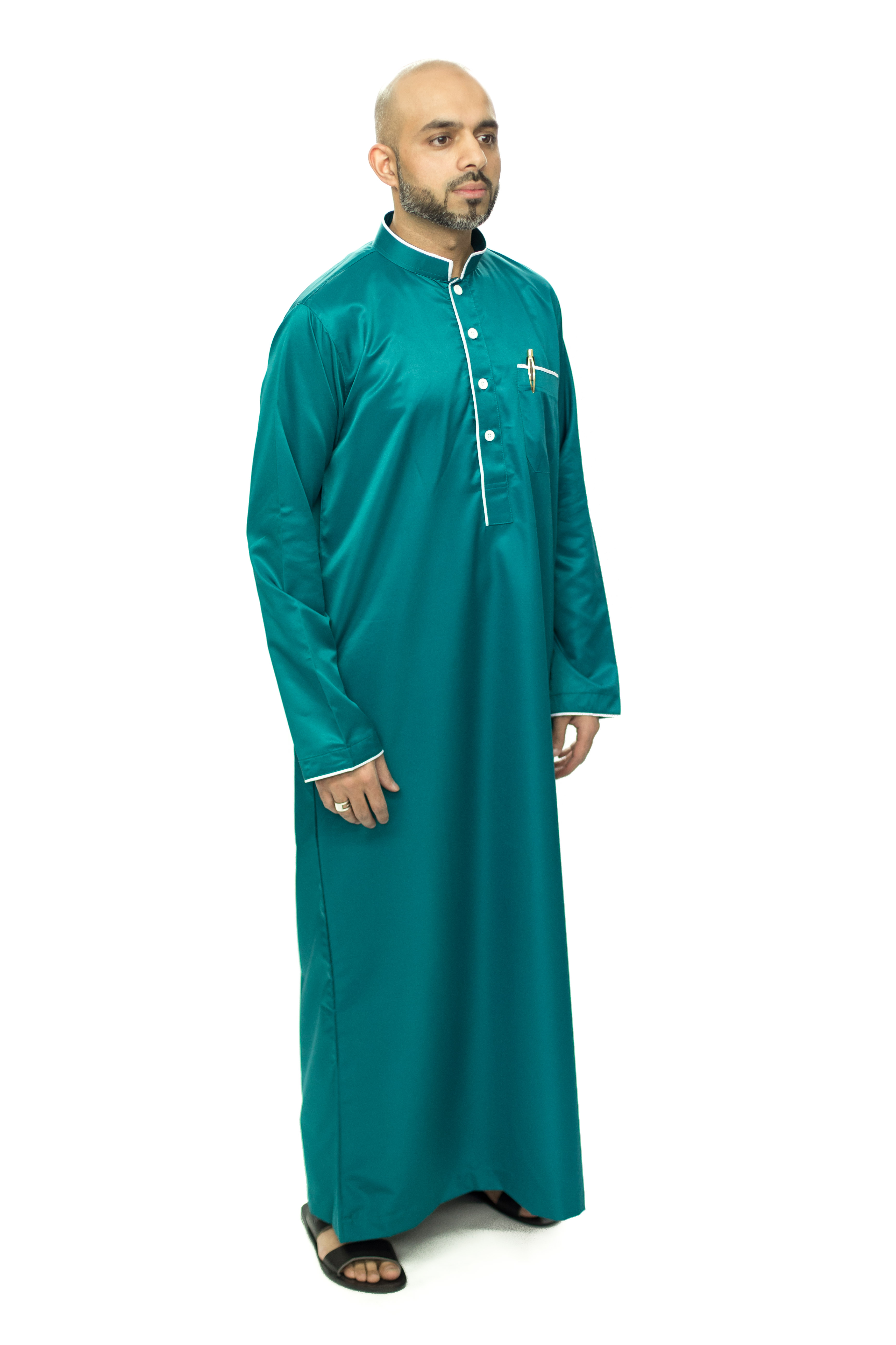 Blue New Mens Pipping Jubba Thobe