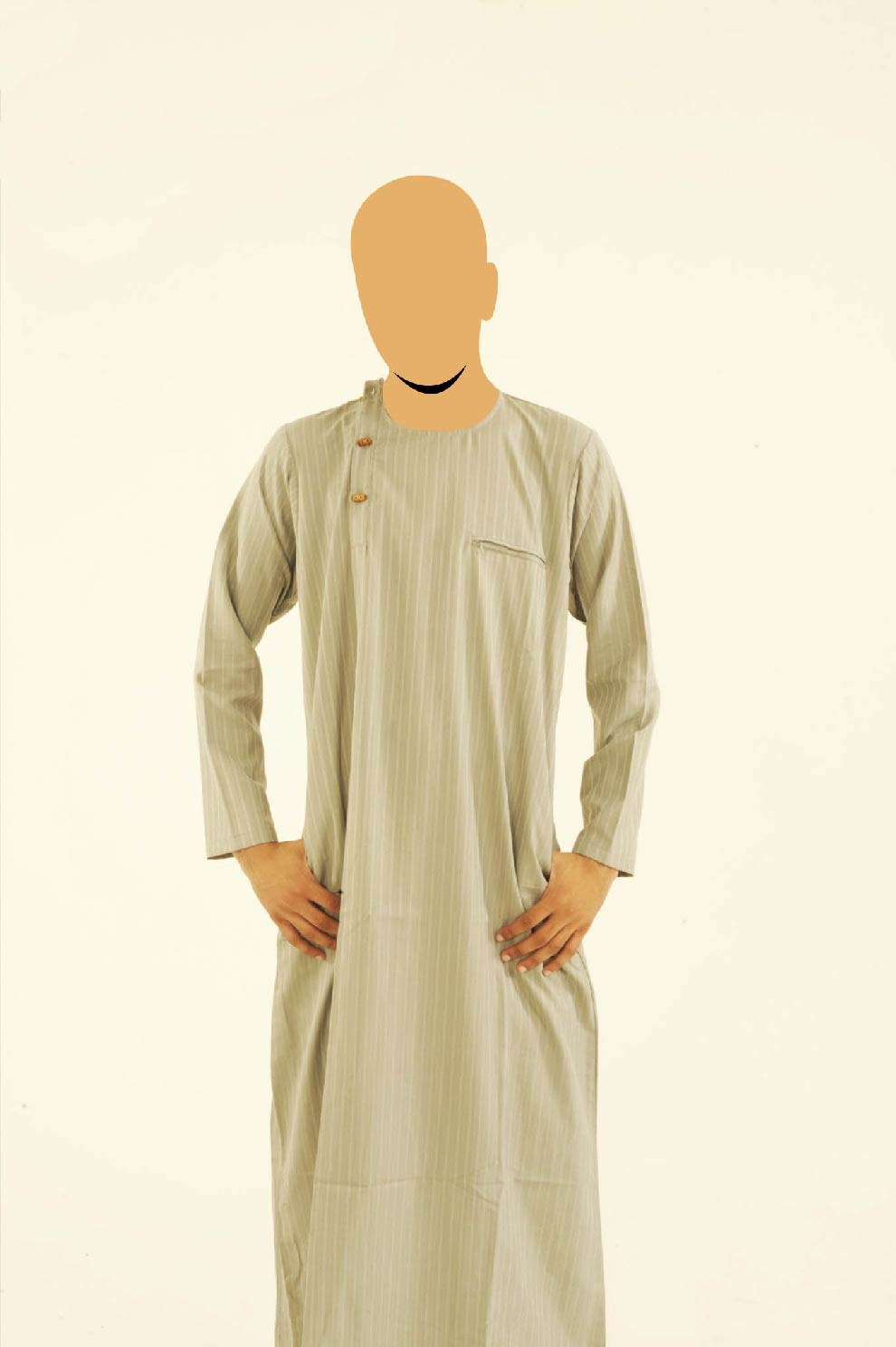 Uttoman Wooden Button Khaki Jubba