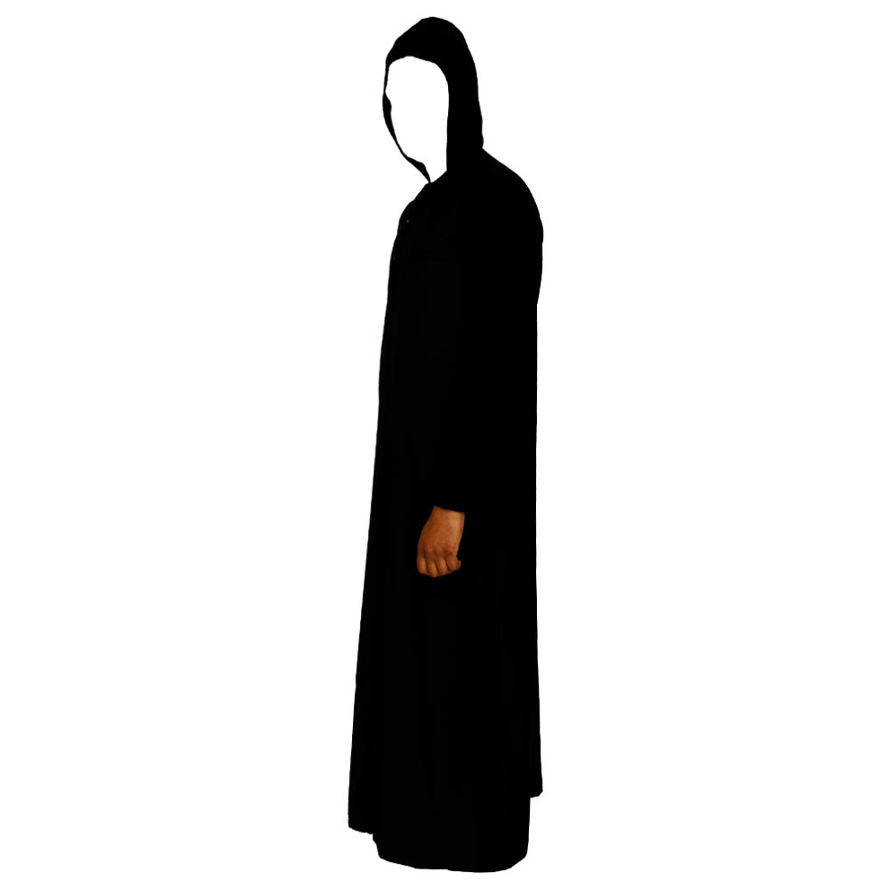 V-Neck Black Hooded Jubba Thobe