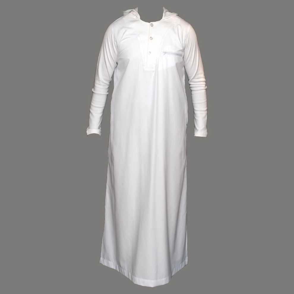 V-Neck White Hooded Jubbah Thobe