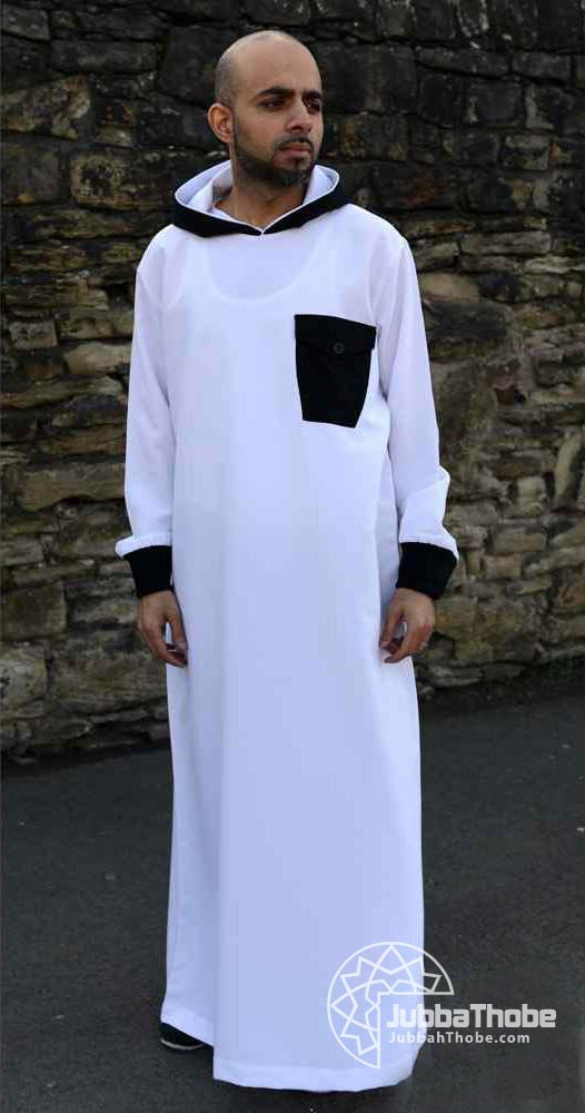 White Black Hooded Jubba Thobe