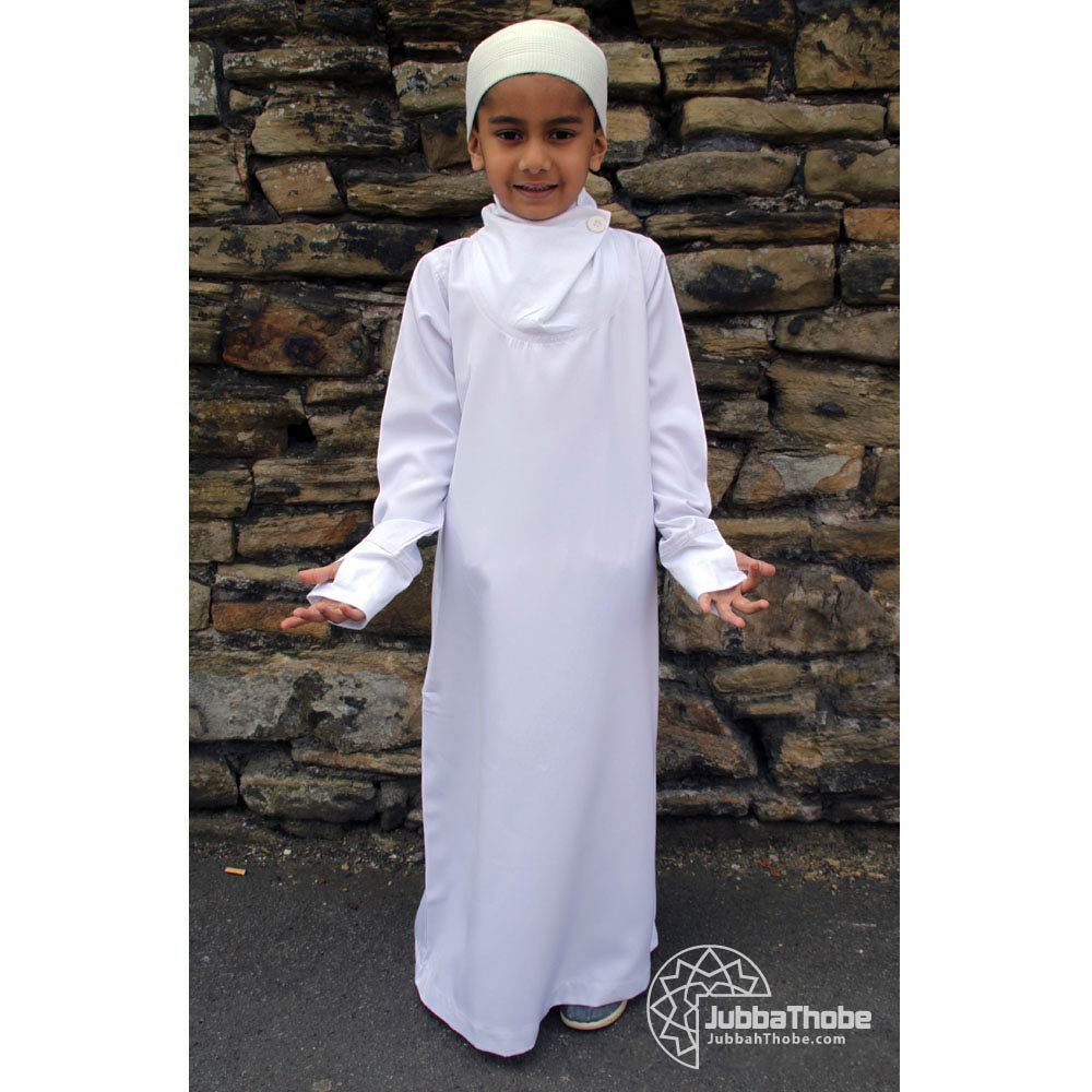White Cowell Neck Children Jubba