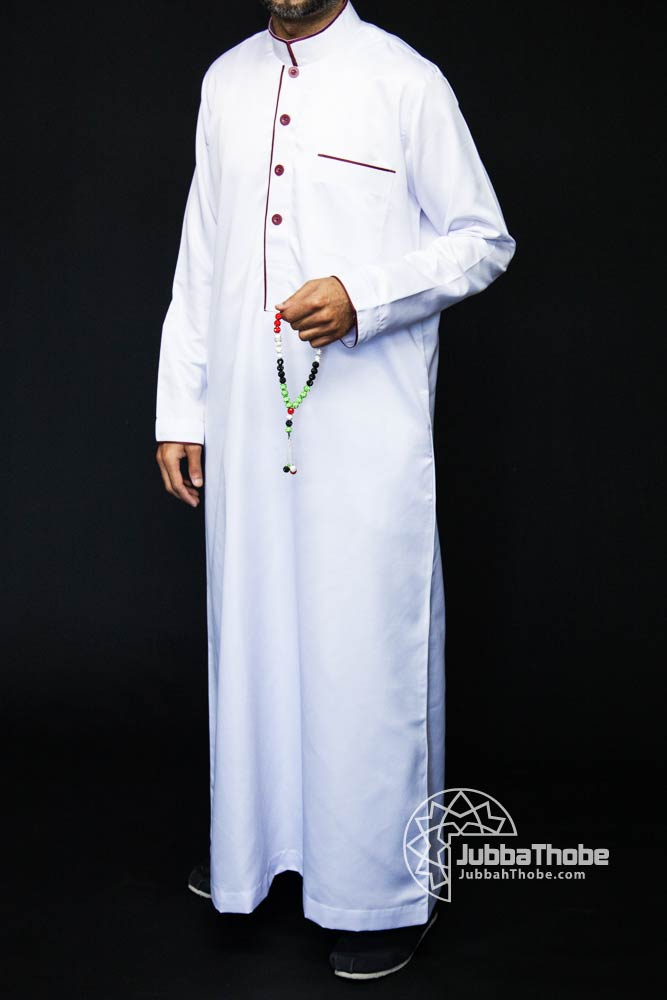 White Mens Pipping Jubba