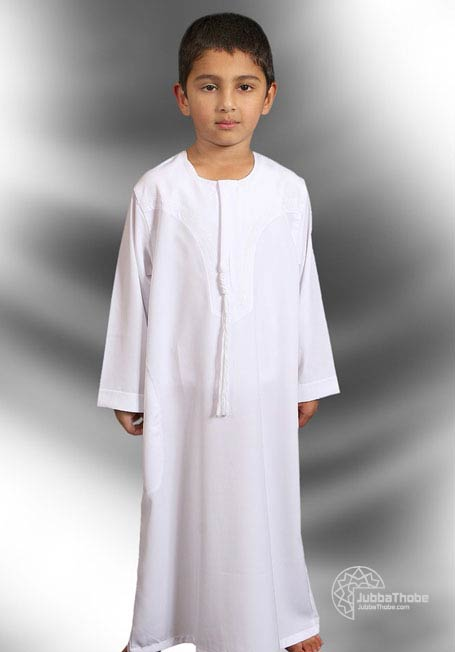 White Plain Omani Style Children Jubba