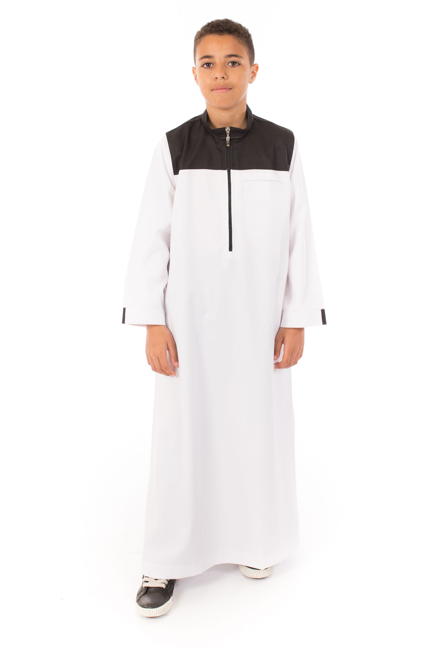 White - Black contrast Kids Islamic Jubba