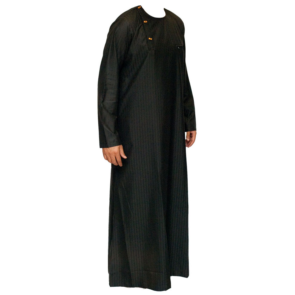 Wooden Button Black Stylish Jubbah Thobe