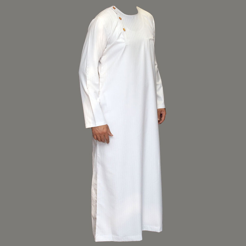 Wooden Button White Stylish Jubbah Thobe